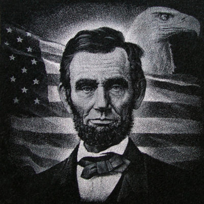 Etching of Abraham Lincoln