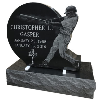 Custom designed etching of baseball player
