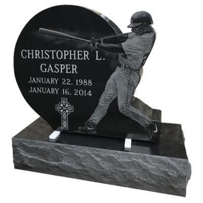 Custom designed etching of baseball player