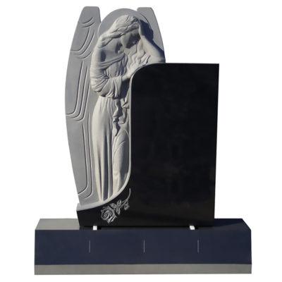 Crying Angel sculpture on Jet Black granite