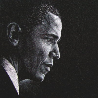 Custom Etching of Barak Obama