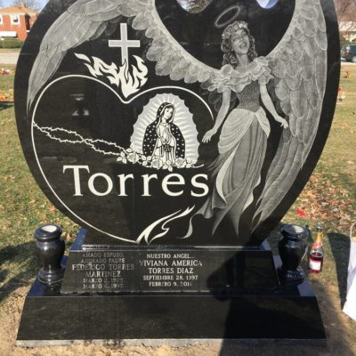 Custom designed family memorial with etching